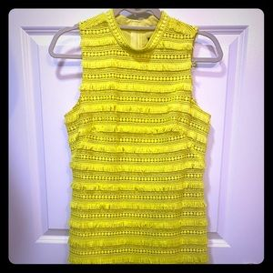 J. Crew tiered highlighter yellow high neck dress